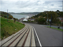 SH7782 : Great Orme Tramway - Curve near Tyn y coed Road by Phil Champion