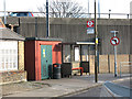 TQ4078 : Bus stop and substation, Westcombe Hill by Stephen Craven