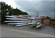 ST5772 : Boats in storage at Bristol Rowing Club by Anthony O'Neil