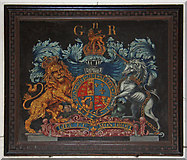 TL4538 : Holy Trinity, Chrishall, Essex - Royal Arms by John Salmon