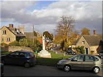 SP1729 : The war memorial seen from the Coach & Horses, Longborough by John Brightley