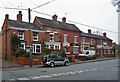 SJ6949 : Houses and pub, Main Road, Wybunbury by Richard Dorrell