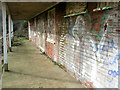 TG2809 : Sports pavilion on Northside, Thorpe St Andrew - graffiti by Evelyn Simak