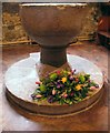 NZ2842 : Stone Font in St Giles Church, Durham by Carol Bleasdale