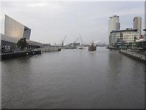 SJ8097 : Salford Quays - Lowry Bridge View of Ship Canal by Alan Heardman