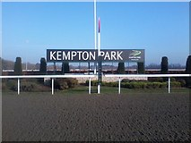 TQ1070 : The winning post at Kempton Park racecourse by John Light