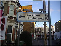 TQ3375 : Road sign on East Dulwich Grove by David Howard