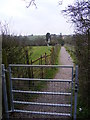 TM3569 : Footpath Gate on footpath to  the A1120 Hackney Road by Adrian Cable