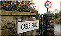 J4692 : Cable Road sign, Whitehead by Albert Bridge