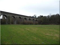 SJ2837 : Train on the Chirk viaduct by Jeremy Bolwell