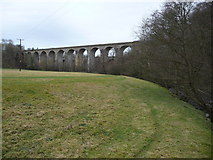 SJ2837 : Chirk railway viaduct from beside the Afon Ceiriog by Jeremy Bolwell
