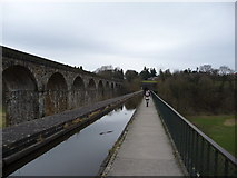 SJ2837 : Walker on the Chirk Aqueduct by Jeremy Bolwell