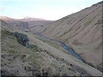 NN2320 : Hillside with a boulder above Glen Fyne by Richard Law