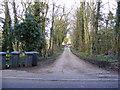TM3969 : Footpath to Woodhill Farm & entrance to Hall Farm by Geographer