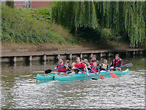 SO8455 : Paired canoes on the River Severn at Worcester by Roger  Kidd