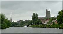 SO8453 : The River Severn at Worcester by Roger  Kidd