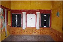 SJ5608 : Wroxeter Roman City (20) - interior of the replica Villa Urbana by P L Chadwick