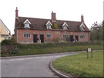 TL9568 : 18th century almshouses by Stowlangtoft church by Robert Edwards