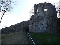 SJ0566 : Part of the town walls of Denbigh by Jeremy Bolwell