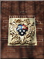 SJ4692 : Coat of arms above the door of No8 Vicarage Place, Prescot by Alexander P Kapp