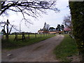 TM3859 : Footpath to Hulver Lane & A1094 Farnham Road & entrance to Croft Farm by Geographer