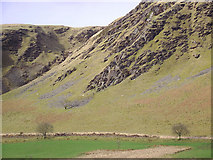 SN8056 : Craggy east side of Cwm Tywi near Dolgoch, Ceredigion by Roger  Kidd