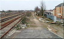 SU1585 : Track alongside railway lines, Swindon by Jaggery