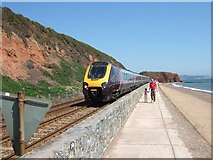 SX9777 : Intercity train with Langstone Rock in background by David Smith