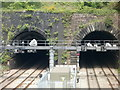 ST3087 : Closeup view of the southern portals of Hillfield tunnels, Newport by Jaggery