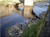 NZ0416 : Anglers on the River Tees by Stanley Howe