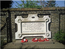 TQ3978 : Memorial tablet in East Greenwich Pleasaunce by Marathon
