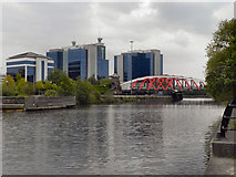 SJ8196 : Manchester Ship Canal, Trafford Road Bridge by David Dixon