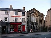 SH5638 : Bookshop and Chapel, Porthmadog, Gwynedd by Christine Matthews