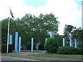 TL1496 : Blue tubes - Peterborough Business Park at Lynch Wood by Richard Humphrey