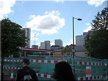 TQ3980 : View of Canary Wharf from the East India Dock roundabout by Robert Lamb