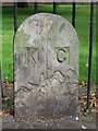TQ4076 : Boundary stone on footpath by Morden College by Mike Quinn