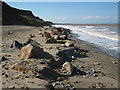 TA2244 : Rock armour on beach at Mappleton by peter robinson