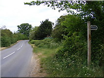 TM2956 : B1078 Border Cot Lane & Bridleway to Broad Road by Adrian Cable