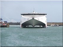 SY6878 : Catamaran ferry about to berth at Weymouth by Stefan Czapski
