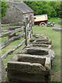 NZ2254 : Collection of stone drinking troughs, Beamish by Pauline E