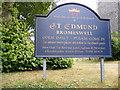 TM3050 : St.Edmund Church,Bromeswell sign by Geographer