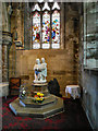 SJ0075 : St Margaret's Church; Font and Stained Glass Window by David Dixon