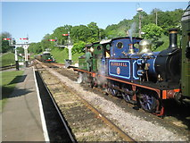 TQ3729 : Crossing trains at Horsted Keynes by Marathon