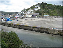 SX2553 : Beach and harbour wall, Looe by Philip Halling