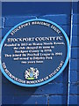 SJ8989 : Blue plaque at Edgeley Park, Stockport by Dave Pickersgill