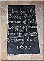 TG0206 : St Peter, Reymerston - Ledger slab by John Salmon