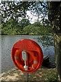 SE3338 : Lifebuoy, Waterloo Lake, Roundhay Park, Leeds by Steve  Fareham