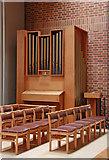 TQ3377 : St George, Coleman Road, Camberwell - Organ & font by John Salmon