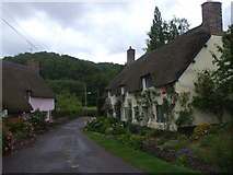 SS9843 : Cottages near Gallox Bridge, Dunster by John Lord