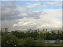 TQ2977 : Churchill Gardens estate, from the train across the river by Christopher Hilton